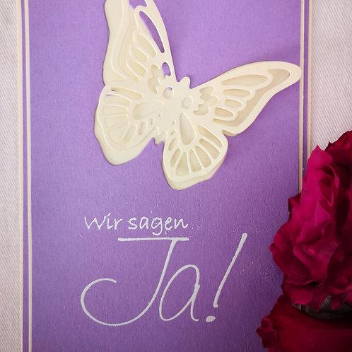 """5 Einladungskarten """"Schmetterlingsliebe flieder"""""""