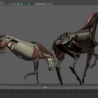 A low-poly horse skeleton modeled in Maya