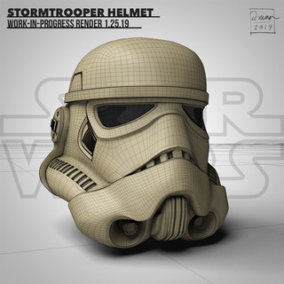 A work-in-progress render of a Stormtrooper model. Modeled in Cinema 4D and edited in Photoshop CC.