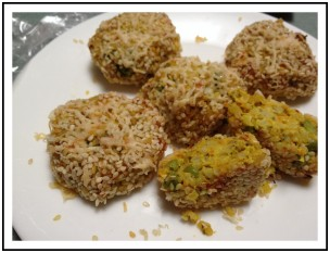 Anti-inflammatory Balls – Baked Savory Brown Rice & Root Vegetable with Turmeric, Ginger and Gar