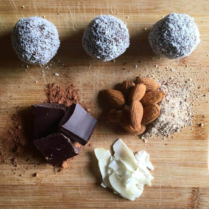 Choc Almond Coconut Balls