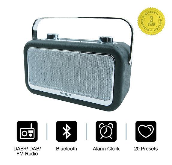 POP Vintage DAB+ FM Bluetooth Digital Radio with Alarm & Leather Effect Finish