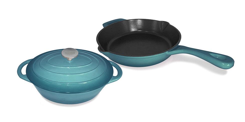 Set of 2 Enameled Cast Iron Casserole Dish + Frying Pan with Ceramic Coating