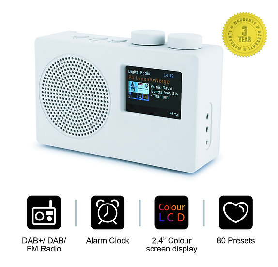 "Smith-Style Deluxe DAB+ FM Digital Radio with Alarm, AUX-In & 2.4"" Colour Screen"