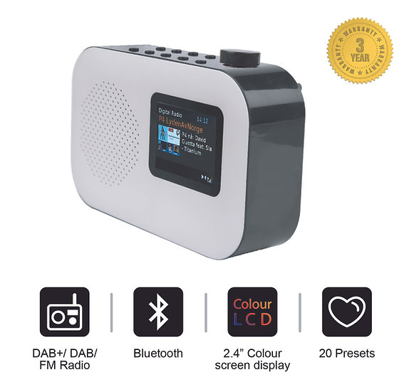 Smith-Style Urban DAB+ FM Bluetooth Digital Radio with Alarm &2.4 Colour Display