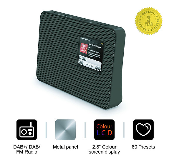 Smith-Style Metal DAB+ FM Digital Radio with Metal Grill Front & Timer