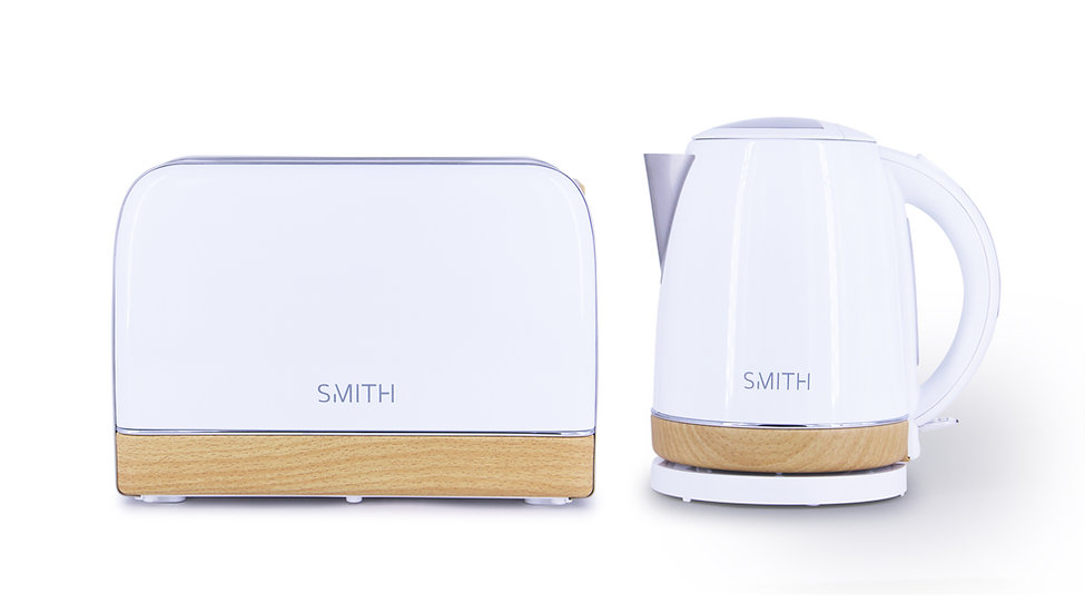Premium 1.7L Stainless Steel Kettle & Toaster Set in Chrome with Wood Effect