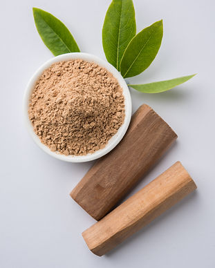 Chandan or sandalwood powder with stocks