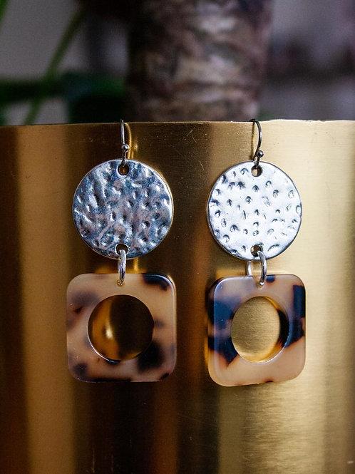 Neutral Tortoiseshell Square Hook-In earring