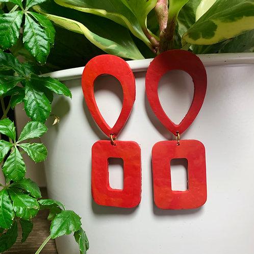 Retro Red Stud Earring