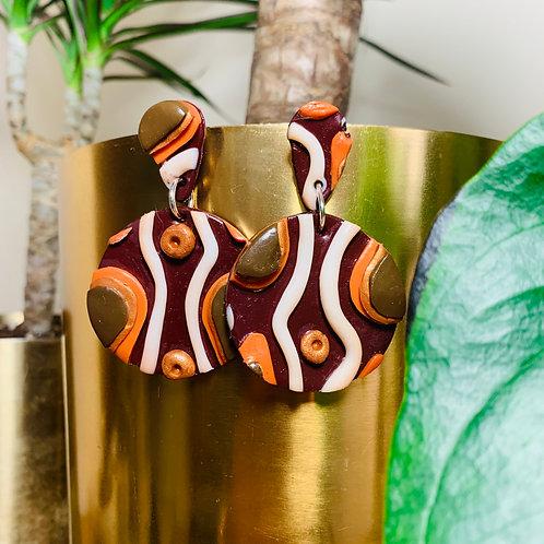 70's Print Stud Earring