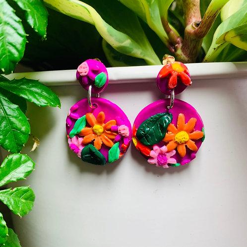 Pink Flower Power Stud Earring