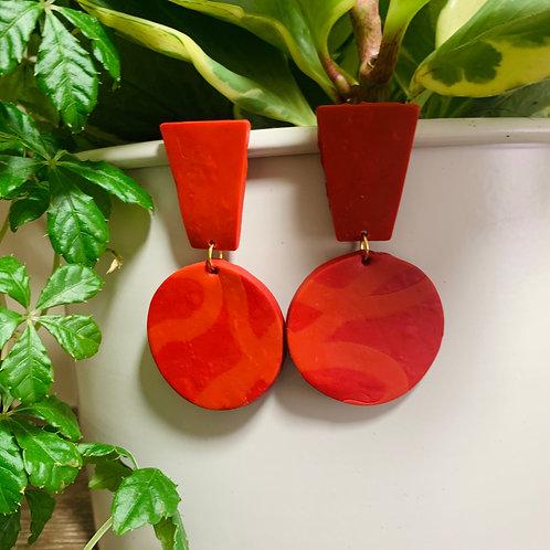 Retro Red Swirl Stud Earring