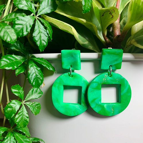 Green Marble Stud Earring