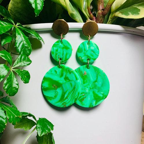 Green Marble Stud Earring