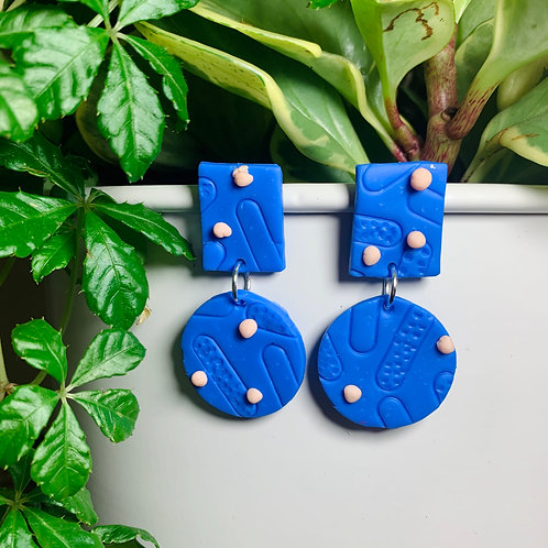 Blue Abstract Shapes Stud Earring