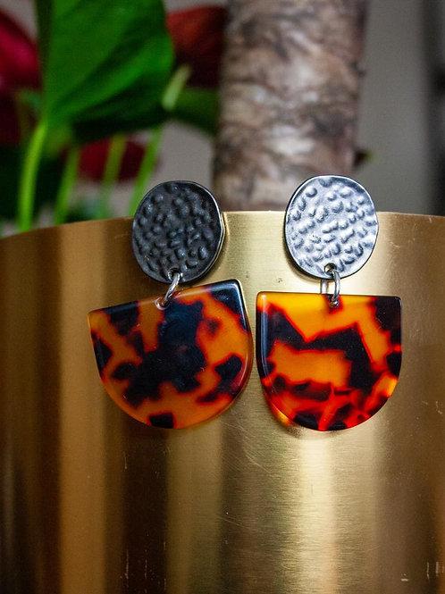 Tortoiseshell 'D' Stud Earring