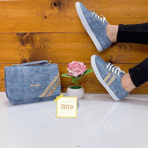 2019 New Collection Blue Handbag and Shoe Matching Set