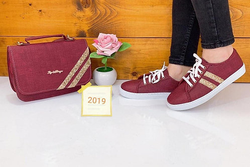 Maroon Matching Handbags and Shoe Set