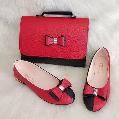 Red Bow Matching Handbag and Shoe Set