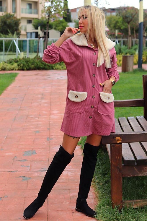 Woman Pink Corduroy Jacket