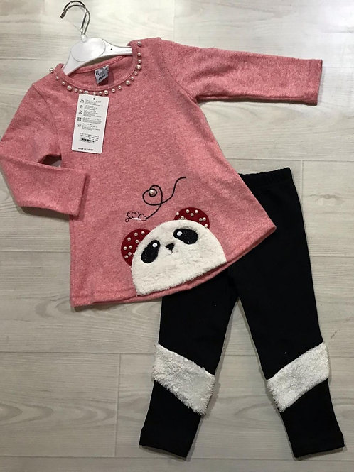 2 Pieces Panda Pink Outfit