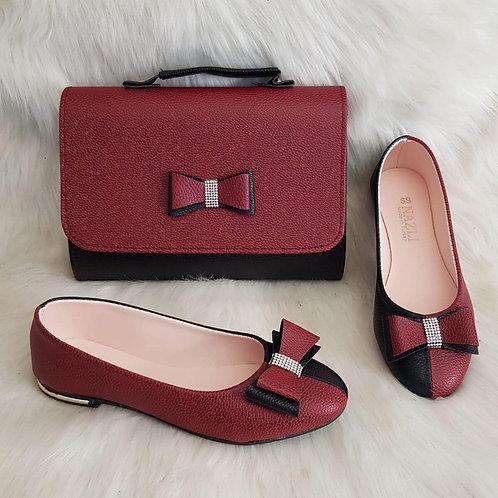 Maroon Bow Handbag and Shoe Set