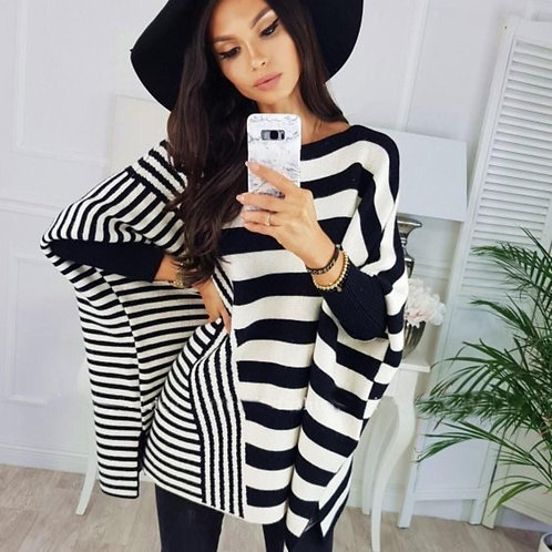 Woman Stripes Pancho top