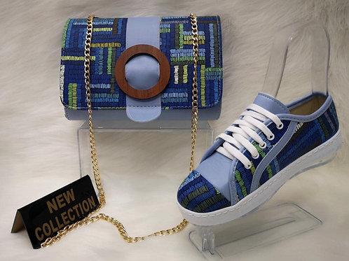 Blue Matching Handbag and Shoe Set