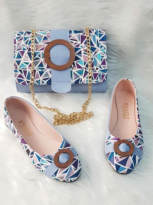 Light Blue Handbags and Shoe Matching Set