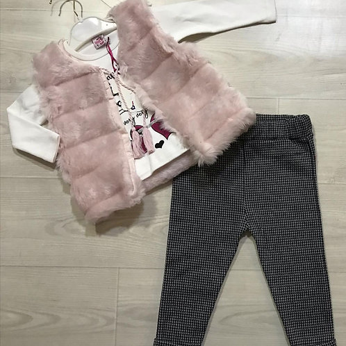 3 Pieces Pink Fur outfit