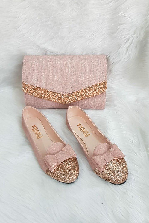 Sparkly Bow Matching Handbag and Shoe Set