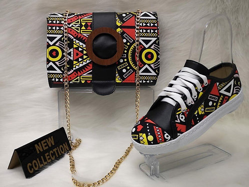 Black and Red Handbag and Sneaker Shoe Matching Set