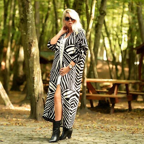Woman Maxi Zebra Jacket