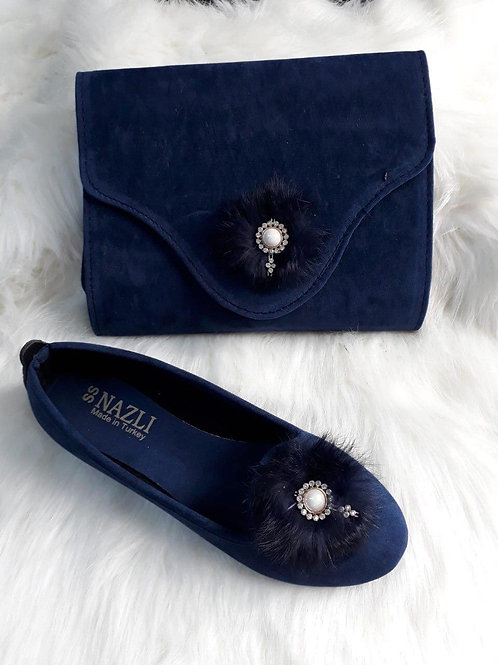 Navy Blue Matching Handbag and Shoe Set