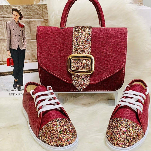 Sparkly Red Handbag and Shoe Matching Set