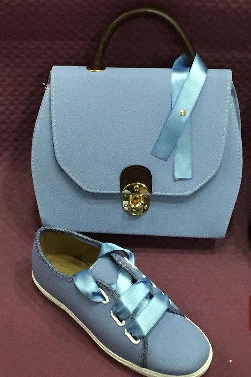 Sky blue Purse Matching Sneaker