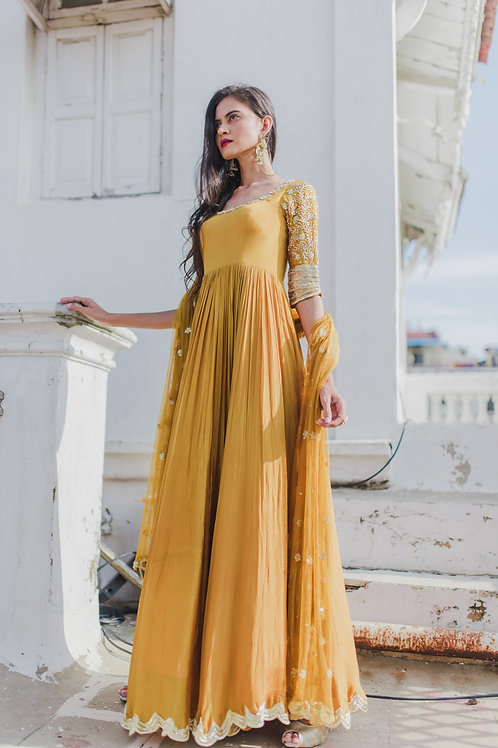 MERIGOLD YELLOW ANARKALI WITH SCALLOP PATTERN
