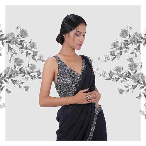 Grey blue sequin cocktail sari
