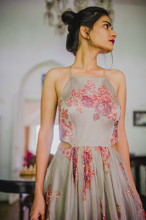 FLORAL GRAY GOWN WITH SIDECUTS