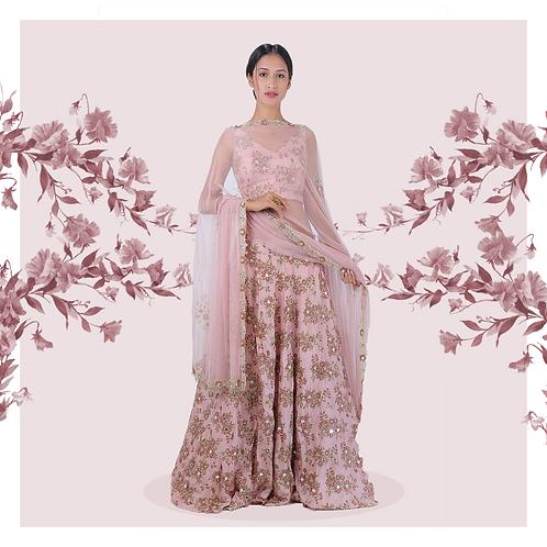 Pink floral croptop-skirt set