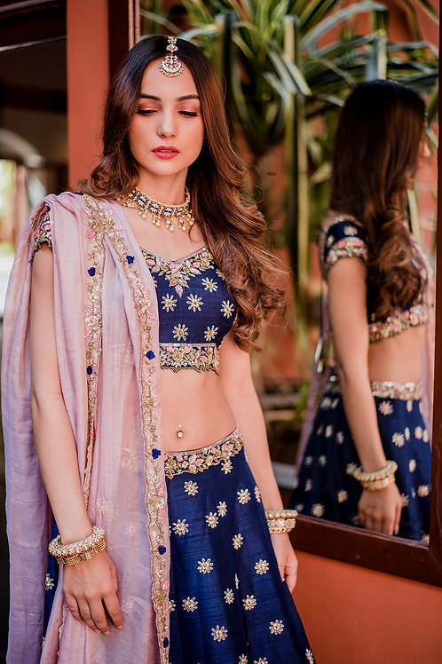 ROYAL BLUE BRIDAL LEHENGA WITH PINK DUPATTA
