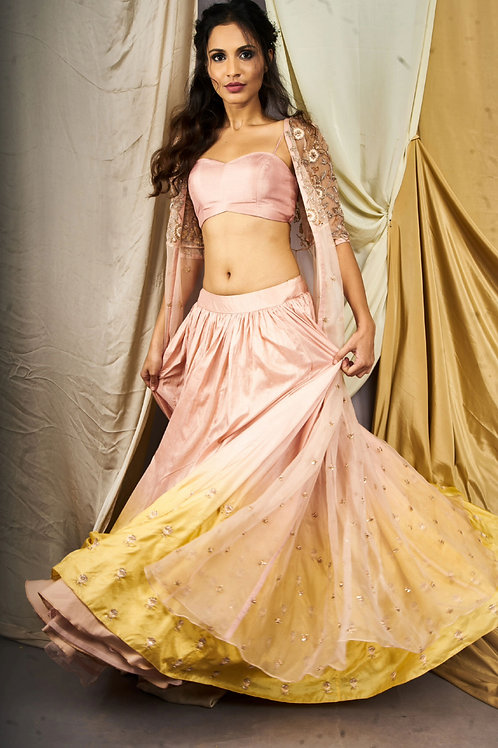 Shaded blush pink & laguna lehenga with jacket