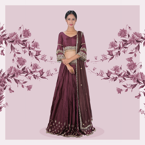 Grape wine bell sleeves lehenga set