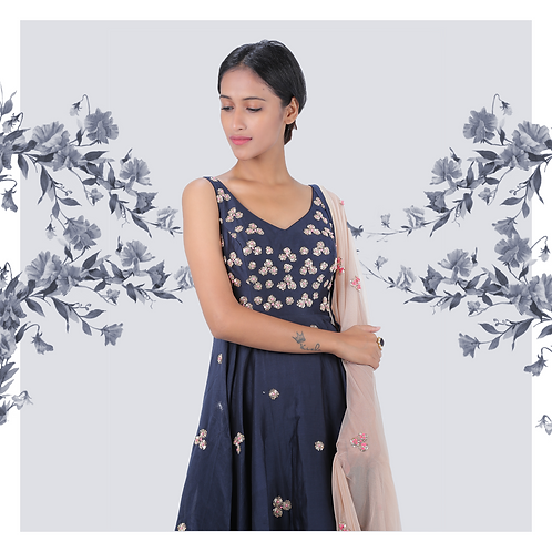Navy blue high-low patterned anarkali with pink dupatta