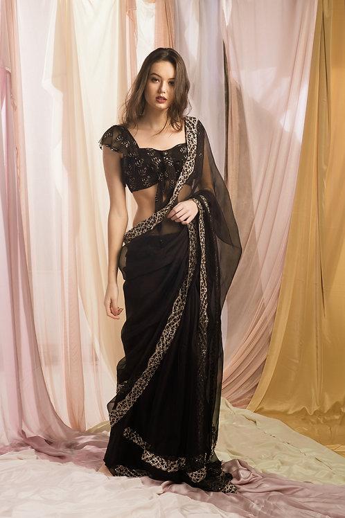 Black Organza thread work Sari Set.Black Organza thread work Sari Set