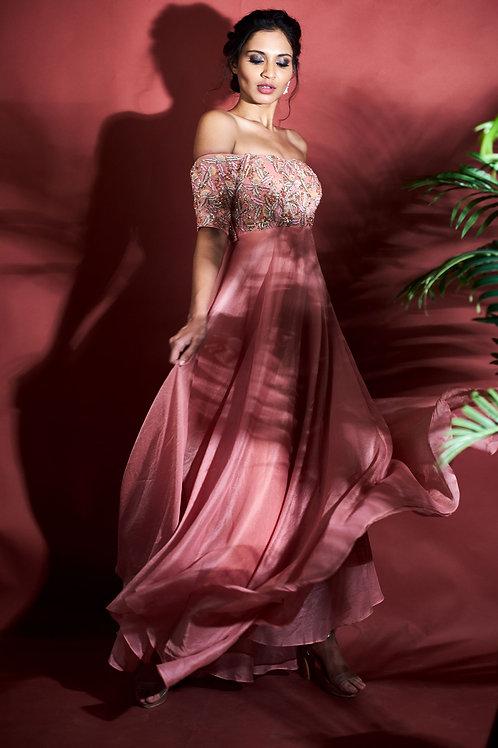 Watermelon pink off shoulder dress.