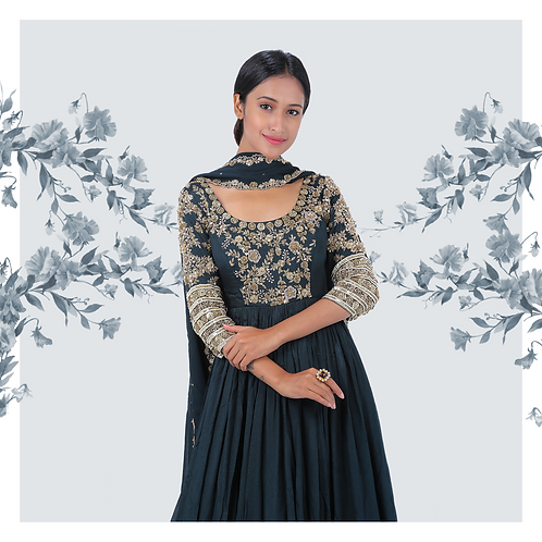 Indigo hue scalloped anarkali