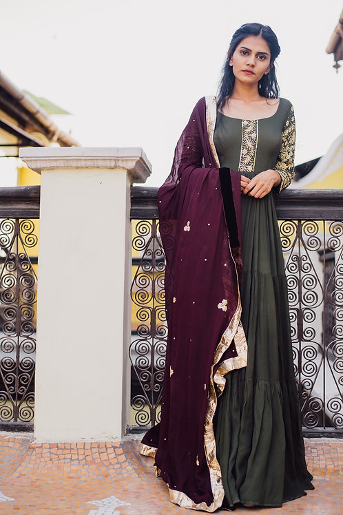 OLIVE GREEN EMBROIDERED ANARKALI WITH MULBERRY DUPATTA