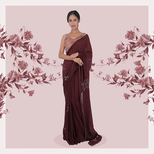 Mahogany flat chiffon sari in floral motifs with rose silk blouse